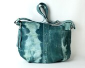 Tie dyed green leather hobo bag