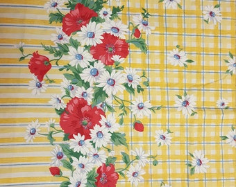 Yellow Double Border floral fabric - 1 yard 34-inches by 60-inches