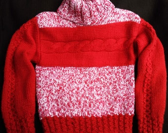 girl red hand knitted sweater child clothes winter knittwear kids warm pullover bright children gift red white Christmas sweater gift cute