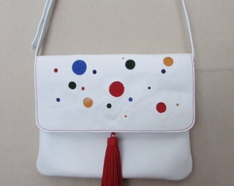 Cross body bag in white leather