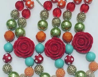Red rose chunky necklace