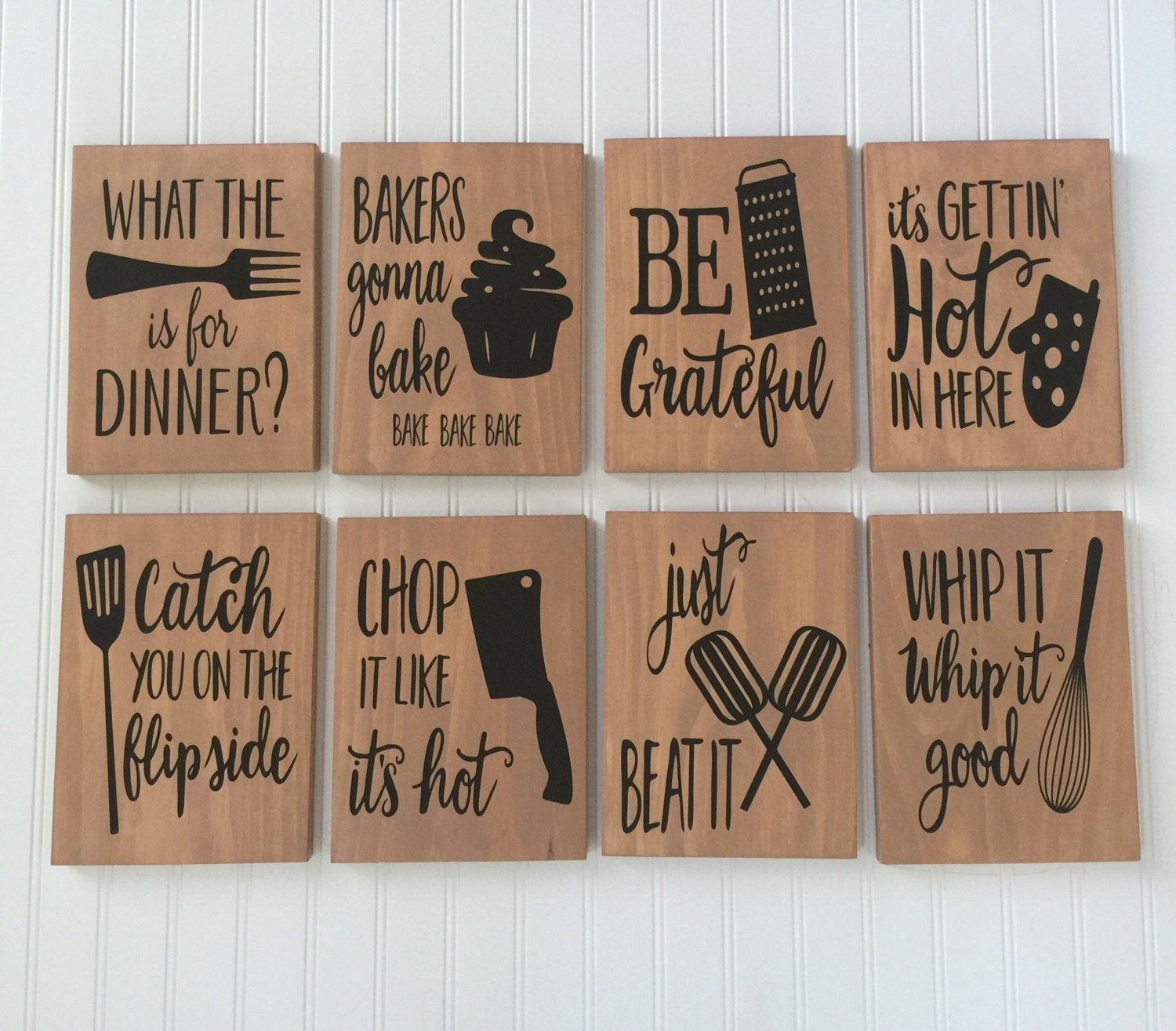 Kitchen decor set of 3 funny kitchen signs rustic kitchen for Funny kitchen set