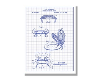 Toilet paper novelty patent poster blueprint style screen toilet seat and cover novelty patent poster blueprint style screen print hand made malvernweather Choice Image