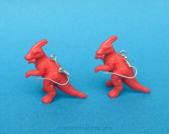 Plastic Dinosaur Earrings - Parasaurolophus Earrings - Orange Dinosaur Earrings - Dinosaur Jewelry - Kitsch Earrings - Dino statement Piece