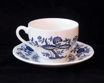 Enoch Wedgwood Blue Onion pattern Tea Cup and Saucer Duo Replacement (Two available)