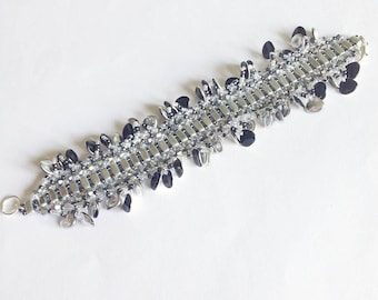 Silver Glamour bracelet with petals, silver seed beads bracelet