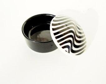 Jewelry Box, Black and White Box, Small Jewelry Box, Trinket Box, Ring Box, Porcelain Jewelry Box, Earring Holder