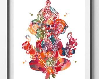 Ganesha Watercolor Print god lord ganesh poster Spiritual art yoga mantra wall decor Ganapati Vinayaka ganesh hindu god indian wedding art