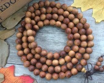 108pc 8MM Frangrance  Brown Sandalood Agarwood Eaglewood Beads Meditation Buddhist Japa Mala Necklace