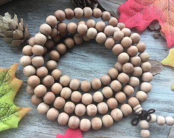 108pc 8MM India Fragrant Sandalood Agarwood Eaglewood Beads Meditation Buddhist Japa Mala Necklace