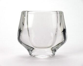 Small clear glass vase by František Vízner for Sklo Union Teplice (Bohemia glass) - 1960s flower bud vase for retro home shelf