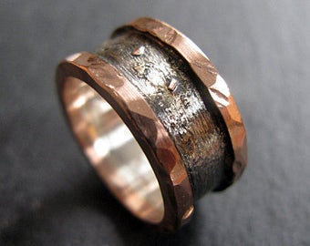 Rustic Mens Wedding Band Men's Wedding Band Unique Wedding Band Man Wedding Band Man Wedding Ring Silver Gold Ring Rose Gold Silver Rim Edge