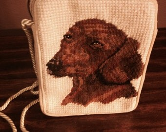 Embroidered Dachshund Purse with Braid Handle