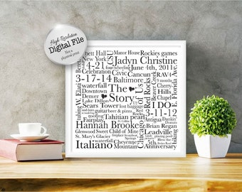 Personalized Word Art, The Story Of Us, Anniversary Gift, Engagement Gift, Wedding Gift, Digital File