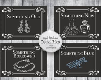 Something Old, Something New, Something Borrowed, Something Blue, Customized Wedding Printables, Wedding Signs, Digital Files