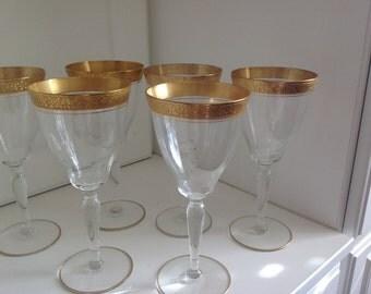 Tiffin Franciscan Dessert or White  Wine Glasses Rambler Rose Pattern Set of 6