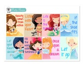 Princess Quotes V1 Full Box Stickers - Disney Planner Stickers