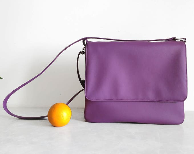 Messenger bag Purple vegan leather Large crossbody bag Laptop crossbody Personalized laptop bag