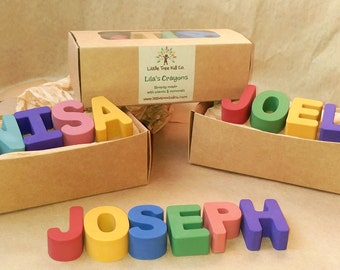 4 Letter - Earth Friendly Name Crayons! Gift Ready Box with Personalized Label. Easter Basket, Birthdays, Favors, Flower Girl & Ring Bearer
