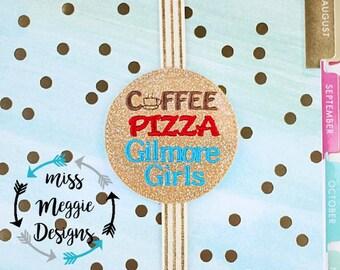 Coffee Pizza Gilmore Girls Bookmark ITH Embroidery design