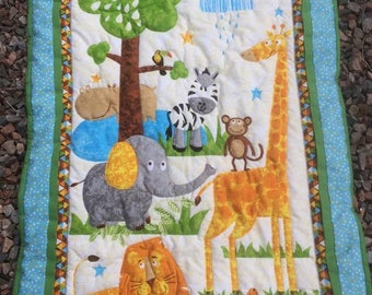Animal fun quilt quilted playmat quilted throw