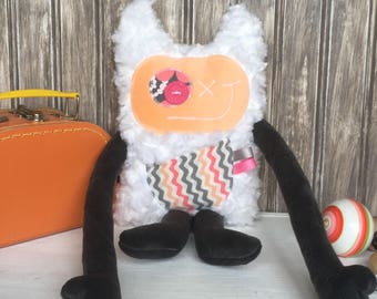 Hug Monster with horns, handmade plush,peach and grey with zigzag on pocket,friendly monster for children,unique  birthday gift, ready to go