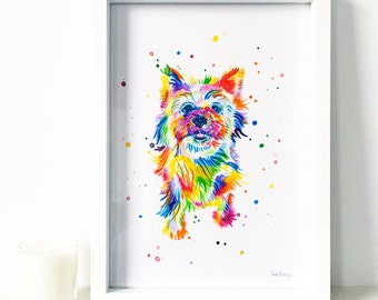 Pet Portrait - Rainbow Watercolour Painting