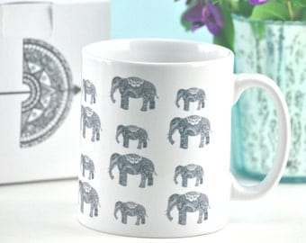 Elephant Family mug with optional gift box - perfect unique Christmas present for animal and elephant lover- elephant gift - FREE SHIPPING