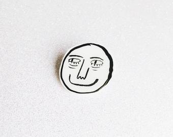 smile pin // smiley face pin, face lapel pin, smile pin, creep pin, lapel pin, hand drawn pin, illustrated lapel pin