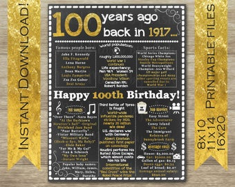 100th Birthday for Her, 100th Birthday for Him, 100th Birthday Sign, Back in 1917, Happy 100th Birthday, 100th Birthday Decor, 100 Years Old