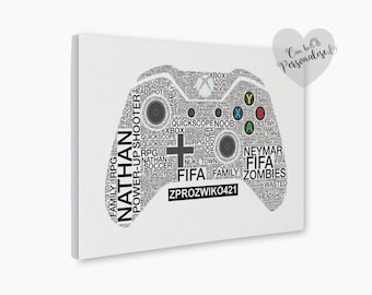 Xbox Game Controller Personalised Canvas, Kids Room Gamer Artwork, Gamer Girl Gift, Anniversary Gift, Geeky, Geekery Art, Video Game Print