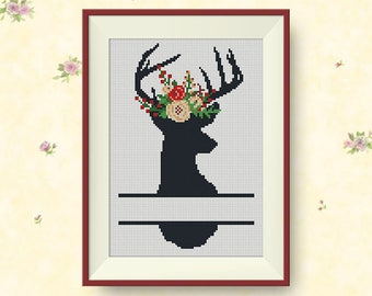 BUY 2, GET 1 FREE! Split Deer Floral Antlers Cross Stitch Pattern, pdf counted cross stitch, Deer silhouette, Modern cross stitch, #P275