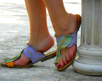 "Greek Handmade Leather Sandals, Handpainted Woman Sandals, Women Sandals ""Thalia"" (handmade to order)"