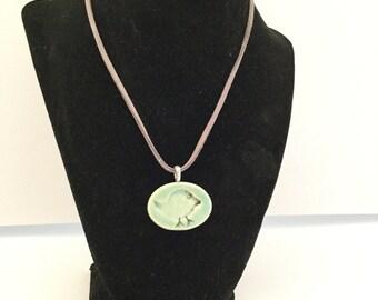 Oval Stoneware Pendant Necklace