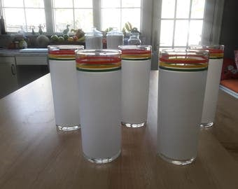 Punky Reggae PARTY GLASSES, Red Yellow and Green Drinking Glasses