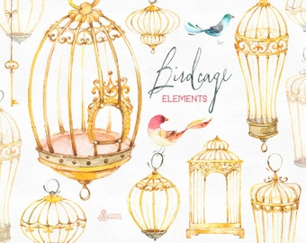 Birdcage Elements. Watercolor clipart with birds, feathers, bows, greetings, cages, diy, gold, valentines, wedding, invites, boho, art, keys