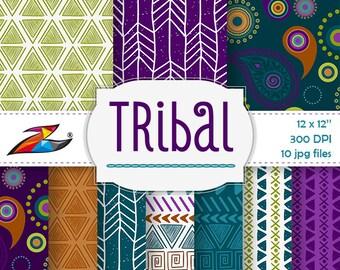 Labor Day Sale Colorful Tribal digital paper aztec pattern tribal background Scrapbook Paper Commercial Use aztec digital paper tribal