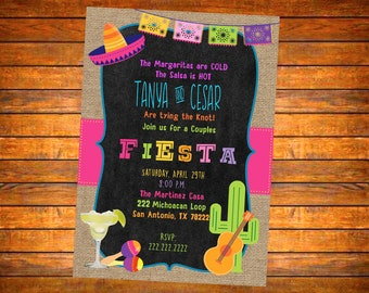 Fiesta Mexican Theme Party  Invitation 4 Different Colors