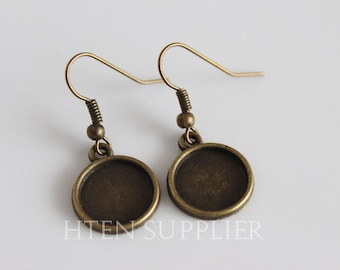 50PCS DIY Earring Kits 12mm Silver antique bronze Earring Bases Blanks ,12MM Earwires ...