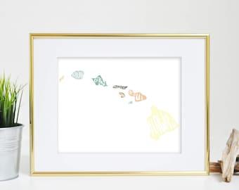 Hawaii Art, Hawaiian Islands Print, Hawaii Map Art, Hand Lettering, Map of Hawaii, Hawaii Island Map, Islands of Hawaii, Oahu Art Maui Print
