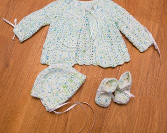 Hand Crocheted Newborn Sweater Set with Hat and Booties -- Variegated Soft White with Light Blue and Lime Green