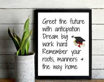 Graduation print, Graduation printable, High school graduation decoration, Graduation gift, College graduation, Dorm wall art, Printable