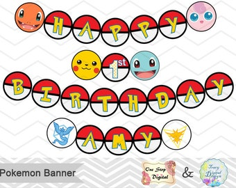 Instant Download Pokemon Bunting, Printable Pokemon Banner, Pokemon Birthday Party Banner, Printable Pokemon Go Party Banner, 00420