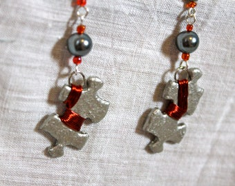 Silver and Orange Puzzle Earrings