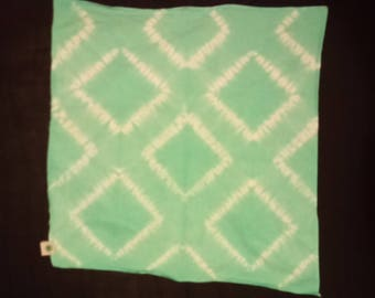 Turquoise Shibori Bandana - Sea Green Cotton Headwrap with Squares Design - Traditional Japanese Fashion Bandanna