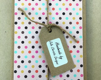 8 Handmade Geo/Chevron/Spot Printed Paper Greeting Cards, Rectangle format, medium and mini gift card pack, blank inside