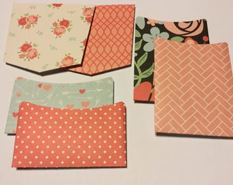 Snail mail pockets, Planner pockets, journal Pockets, happy mail pockets, embellishments, scrapbooking, patterned paper
