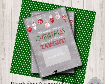Target Christmas Gift Card Printable - INSTANT DOWNLOAD - XMAS006 - holiday, gift card, teacher, student, co-worker, boss, gift idea