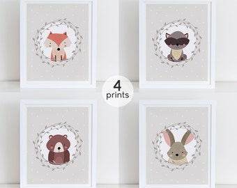 Woodland Nursery Art Print Set, Instant Download, Digital Art Print, Woodland Animals Nursery Wall Decor, Fox Rabbit Bear Raccoon 8x1o Print