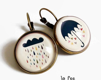 Stud Earrings * singing in the rain! * umbrella rain cloud heart glass cabochon